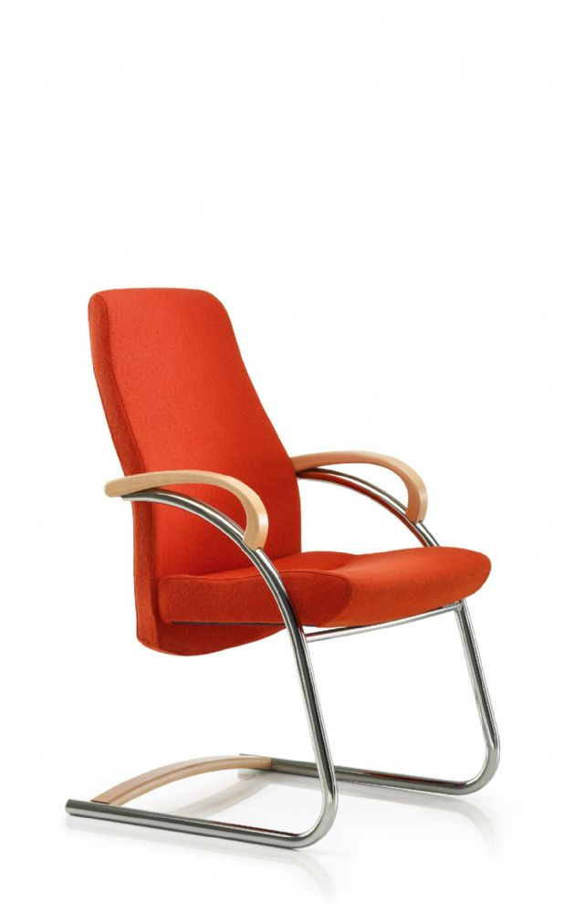 Pledge Zante Upholstered Task Chair With Cantilever Frame And Wooden Arms